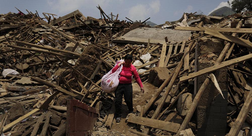 Les décombres de maisons détruites par un séisme dans la province du Yunnan (image d'archives)