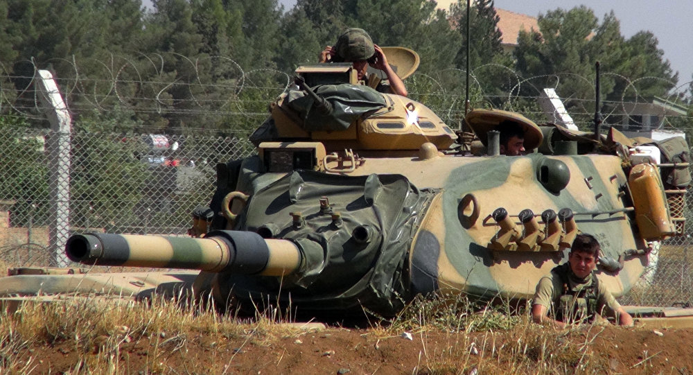 A Turkish army tank stationed near the Syrian border, in Suruc, Turkey, Saturday, Sept. 3, 2016.