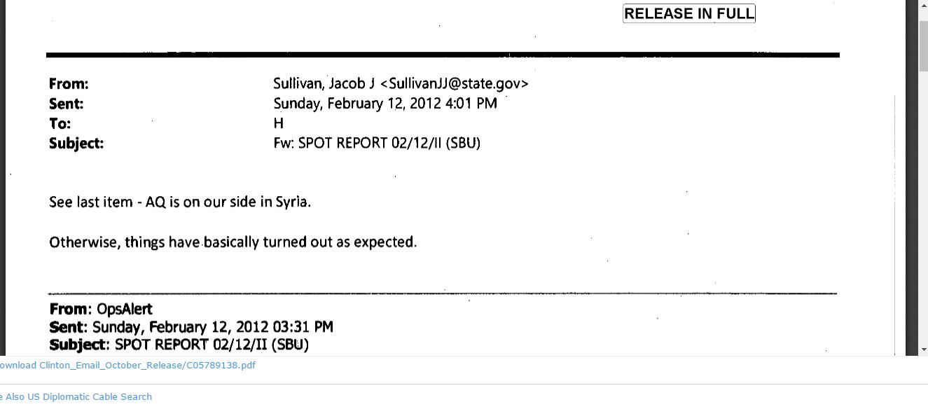 Fragment d'une lettre de Jake Sullivan publiée par Wikileaks