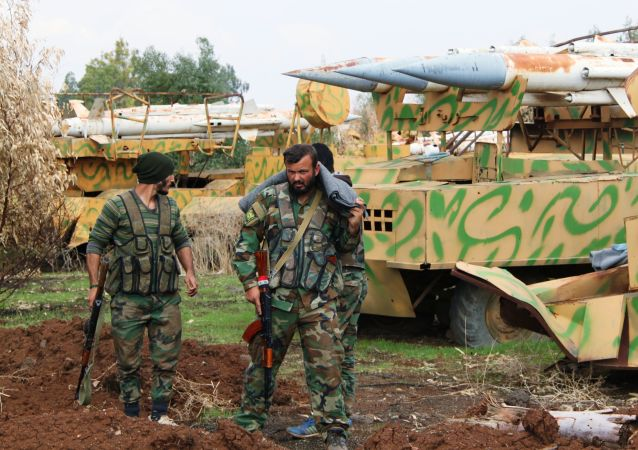 Soldats syriens dans la province de Deraa. Image d'illustration