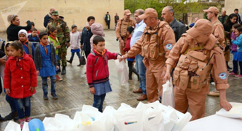l'aide humanitaire russe pour les habitants de la Syrie