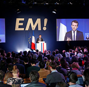 Emmanuel Macron, head of the political movement En Marche !, or Onwards !, and candidate for the 2017 French presidential election, speaks during a news conference to unveil his fully budgeted manifesto, named a contract with the nation, in Paris, France, March 2, 2017.