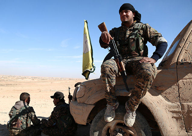 Membre des Forces démocratiques syriennes près de Raqqa