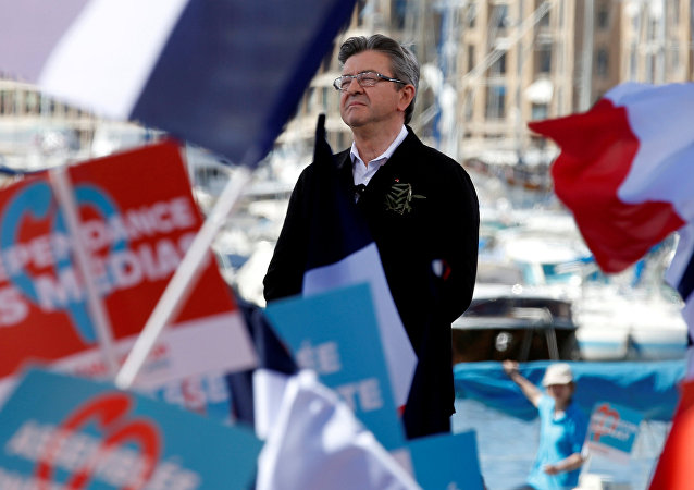 Jean-Luc Melenchon of the French far left Parti de Gauche and candidate for the 2017 French presidential election delivers a speech during a political rally in Marseille, France, April 9, 2017.