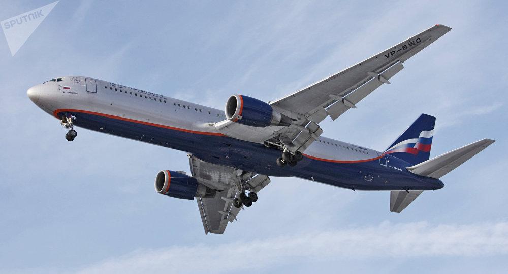 Aeroflot Russian Airlines Boeing-767 at Sheremetyevo airport.