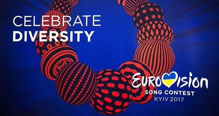 Logo of the Eurovision 2017 song contest at the semi-final allocation draw in Kiev.