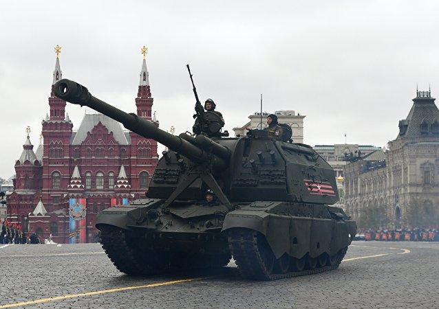 Самоходная артиллерийская установка (САУ) Мста-С на военном параде на Красной площади, посвященном 72-й годовщине Победы в Великой Отечественной войне 1941-1945 годов.