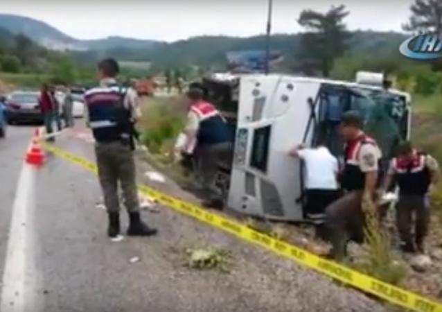 Accident en Turquie: le bus transportait des Ukrainiens et non des Russes (vidéo)
