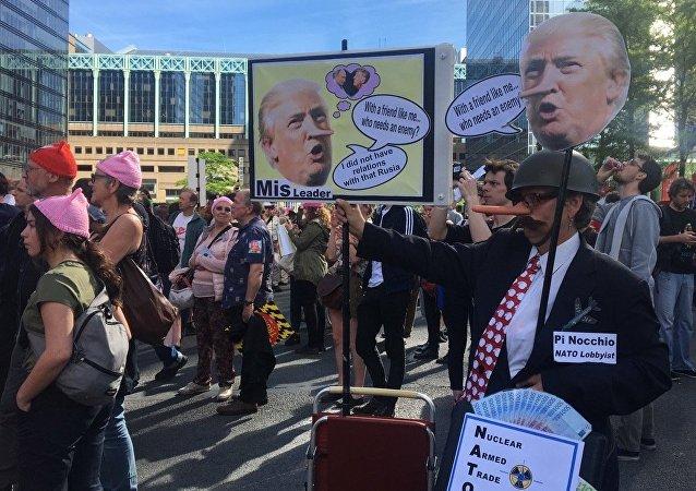 Manif anti-Trump à Bruxelles