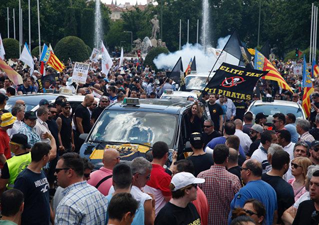 Une manifestation des chauffeurs de taxi espagnols