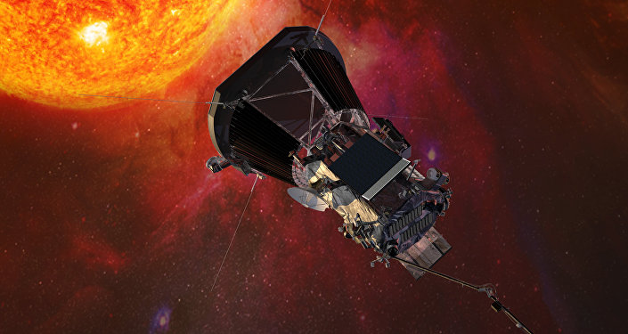 Illustration of the Parker Solar Probe spacecraft approaching the sun
