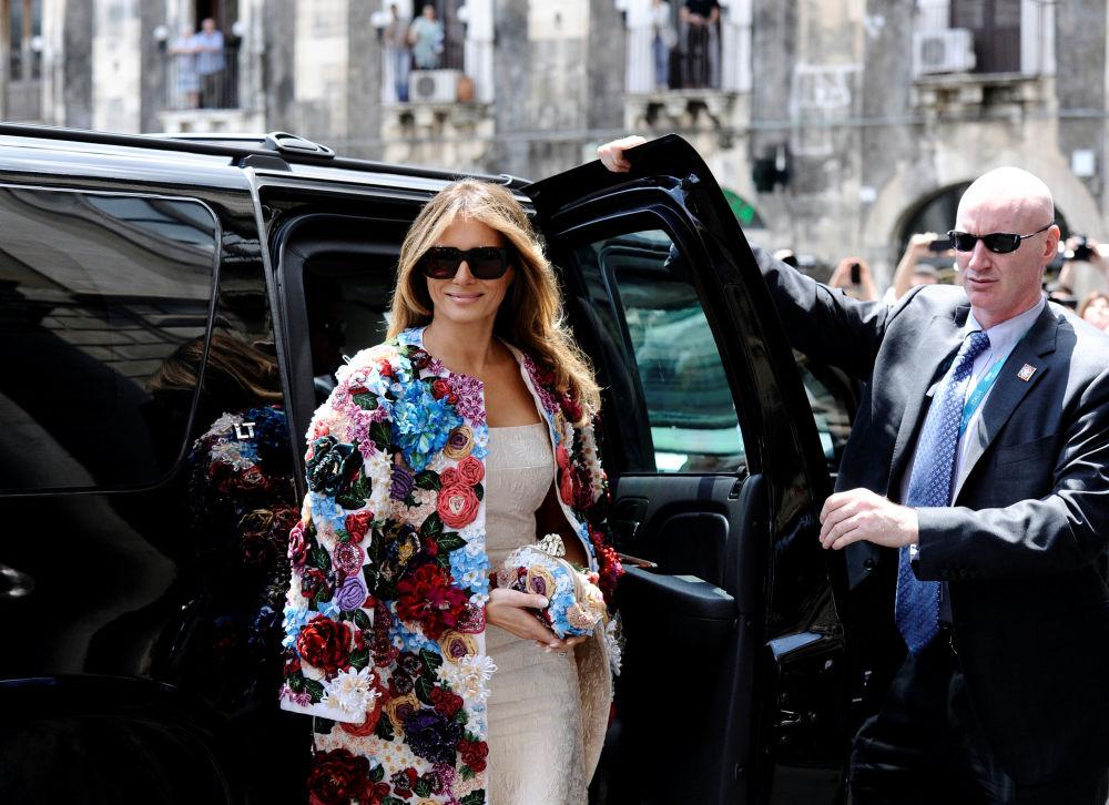 La Première dame américaine Melania Trump arrive au sommet du G7 à Catane, en Sicile