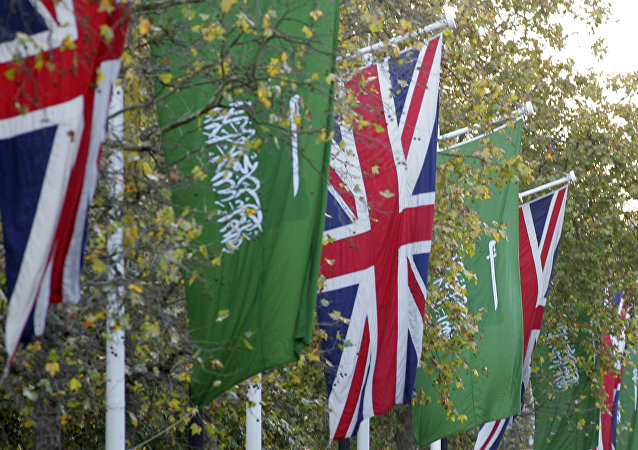 Flags of the United Kingdom and the flag of The Kingdom of Saudi Arabia