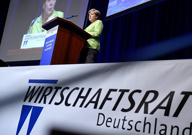 Angela Merkel pendant une réunion de la CDU à Berlin