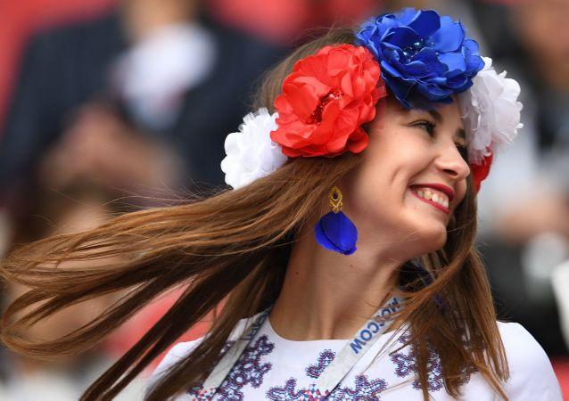 Supporteuse russe lors de la Coupe des Confédérations 2017