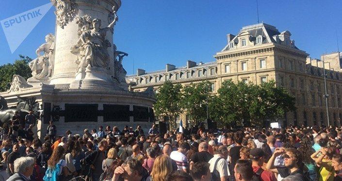 Des manifestants à République, 03.07.2017