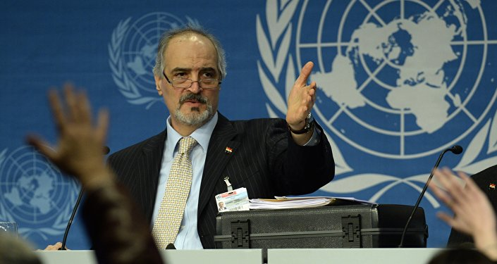 L'ambassadeur syrien à l'Onu Bachar Jaafari lors d'un point presse. Archive photo