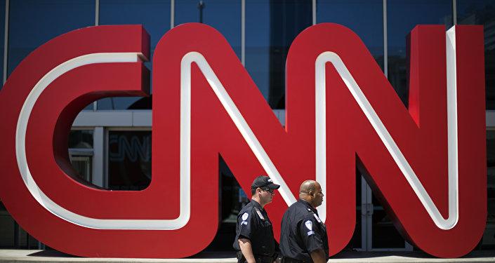 Politzisten vor der CNN-Zentrale in Atlanta, USA