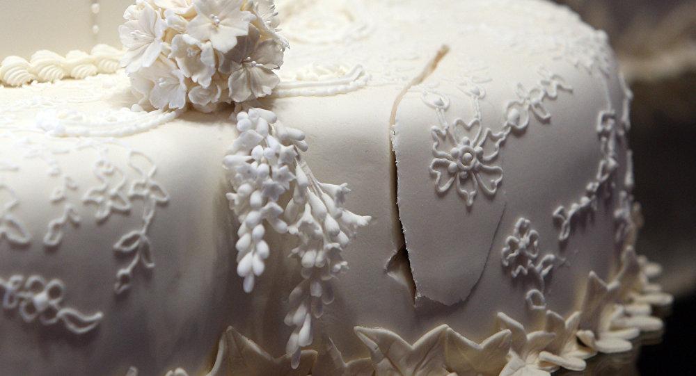 Le gâteau de mariage royal au Buckingham Palace à Londres, le mercredi 20 juillet 2011