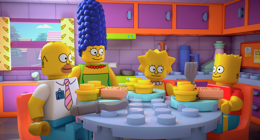 This image released by FOX shows characters from the animated series, The Simpsons, from left, Homer, Marge, Lisa and Bart, as Lego figures