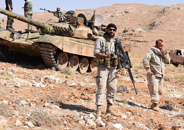 Des soldats du Hezbollah dans la région de Jaroud Ersal