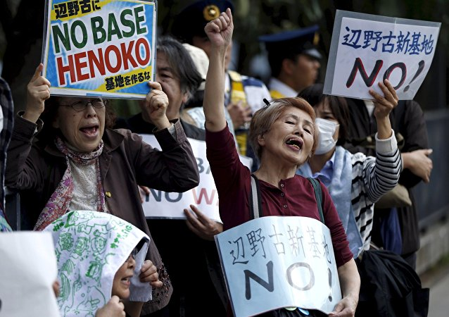 Okinawa, protestations contre les bases US