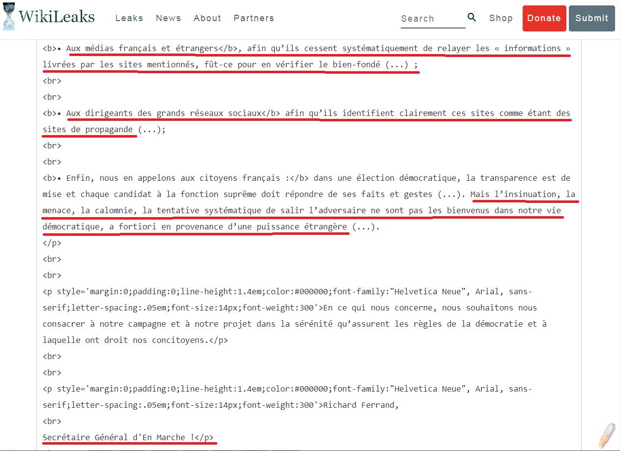 Courriel concernant la campagne présidentielle d'Emmanuel Macron publié par WikiLeaks: «Contre les tentatives de déstabilisation de la campagne présidentielle...»