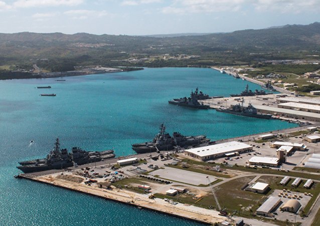 Navy vessels are moored in port at the U.S. Naval Base Guam at Apra Harbor, Guam March 5, 2016