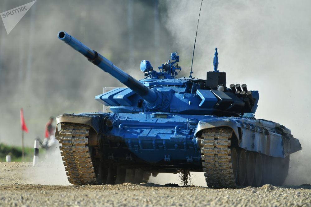 Un char de l'équipe de l'armée kazakhe