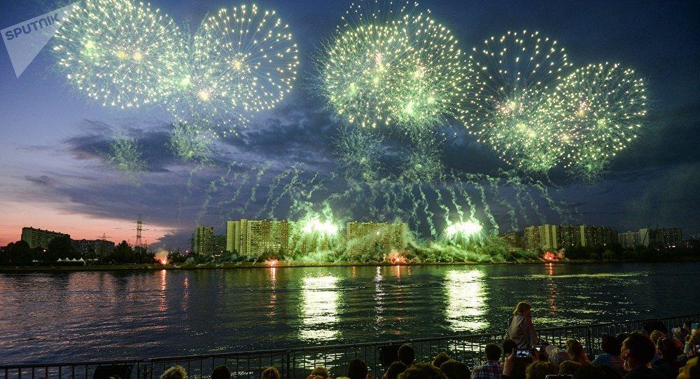 Le 2e Festival international des feux d'artifice Rostec à Moscou