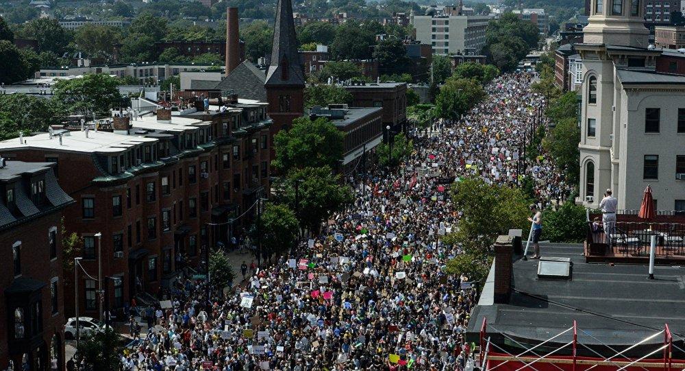 Manifestation contre le racisme à Boston