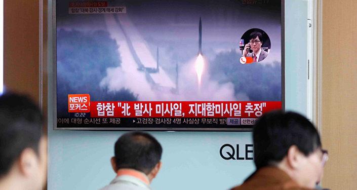 La Corée du Nord tire un missile. Archive photo