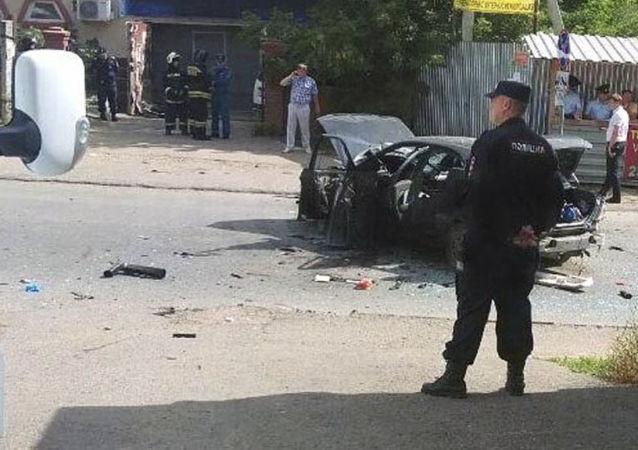 Lieu de l'explosion d'une bombe dans un véhicule à Oufa (sud-ouest russe)