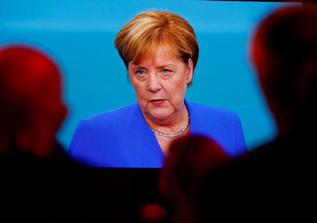 Angela Merkel lors des débats préélectoraux diffusés sur la chaîne allemande ARD