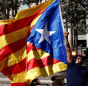 Un partisan de l'indépendance de la Catalogne