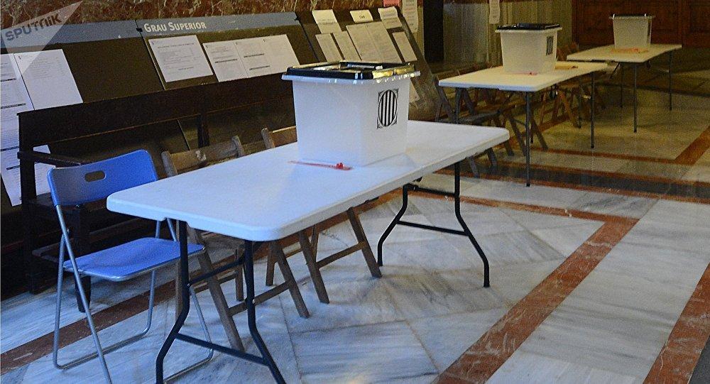 Un bureau de vote en Catalogne