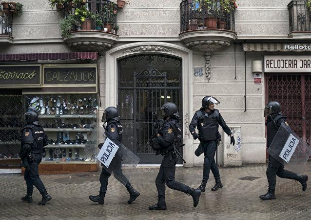 La police espagnole en Catalogne