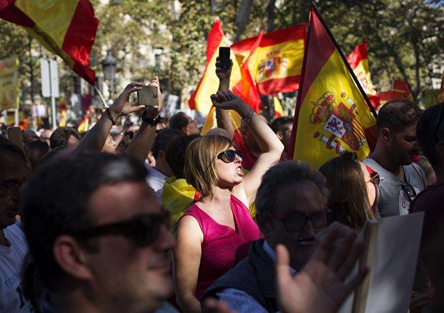 Manifestation pour l'unité de l'Espagne à Barcelone