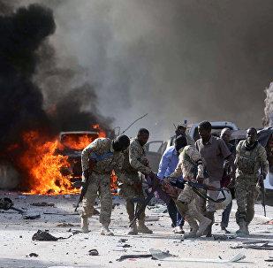 Le lieu de l'attaque au camion piégé à Mogadiscio (14 octobre 2017)