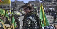 Les combattantes kurdes des Forces démocratiques syriennes à Raqqa libéré