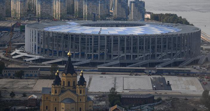 La construction du stade Nijni-Novgorod