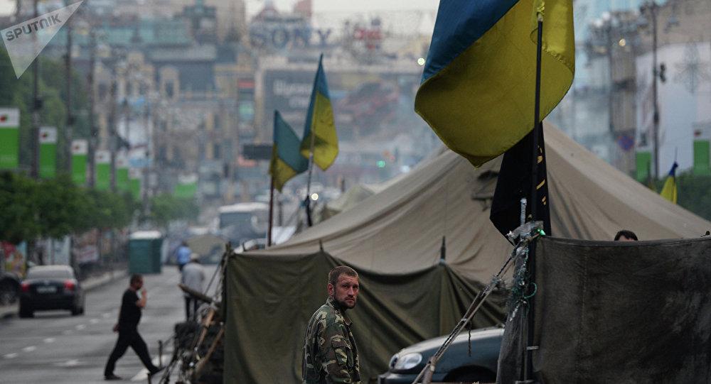 Une tente à Kiev
