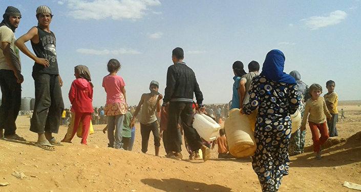 Les réfugiés syriens dans le camp d'el-Rukban
