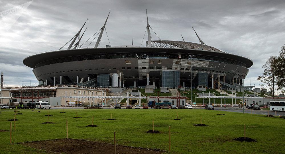 Le stade Zenit Arena en chantier à Saint-Pétersbourg