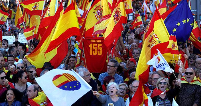 Une manifestation en faveur de l'unité avec l'Espagne à Barcelone