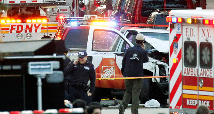 Lieu de l'attentat à Manhattan