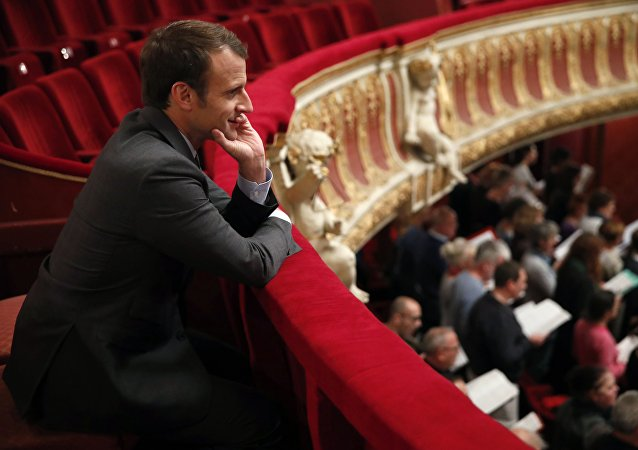 French President Emmanuel Macron attends a rehearsal at Strasbourg's Opera, eastern France, on October 31, 2017.