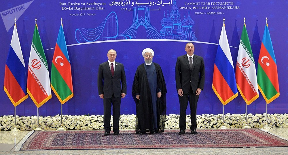 Vladimir Poutine, Hassan Rohani et Ilham Aliyev