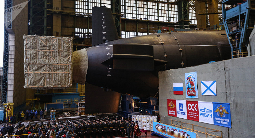 Mise à l'eau du sous-marin nucléaire Prince Vladimir