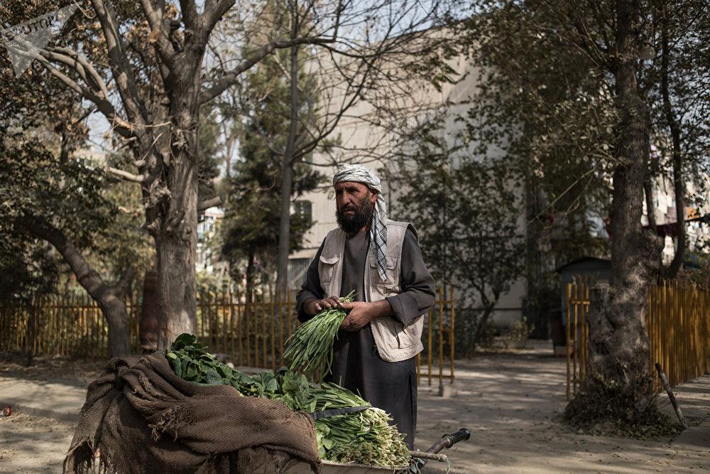 Un homme vend des légumes dans la cour des quartiers de Kaboul.